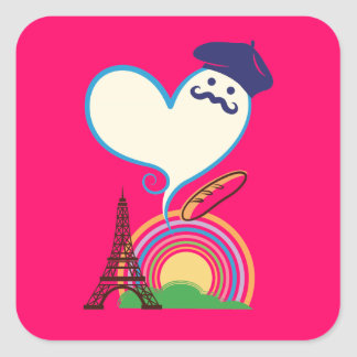 Heart shape with French icons and symbols Square Sticker