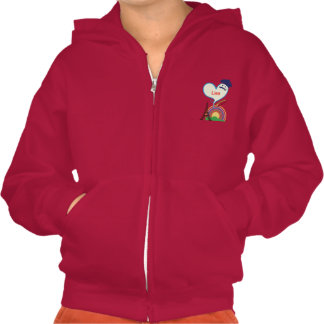 Heart shape with French icons and symbols Pullover