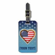 Heart Shaped American Flag Bag Tag