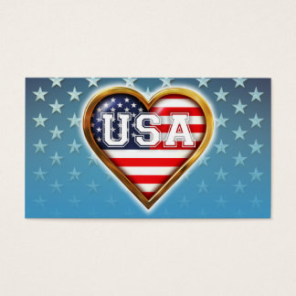 Heart-Shaped American Flag Business Card