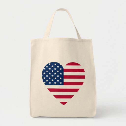Heart-Shaped American Flag Grocery Tote Bag