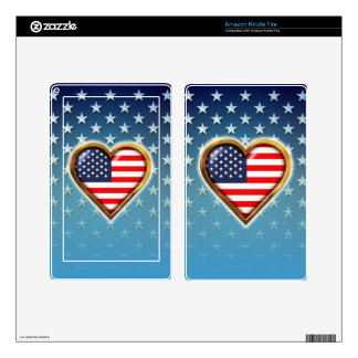 Heart-Shaped American Flag Kindle Fire Skins