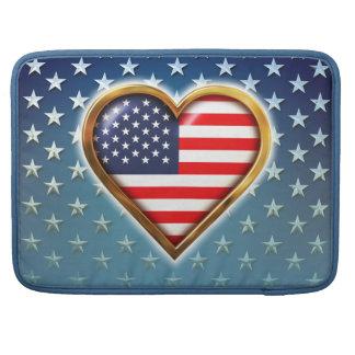 Heart-Shaped American Flag MacBook Pro Sleeves