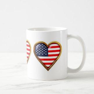 Heart-Shaped American Flags Coffee Mug