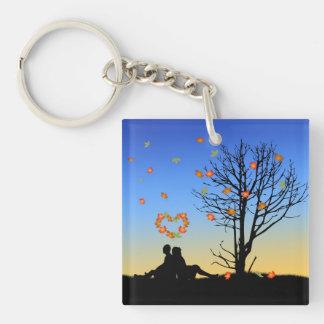 Heart-Shaped Autumn Leaves - Acrylic Keychain