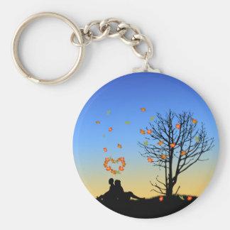 Heart-Shaped Autumn Leaves - Keychain