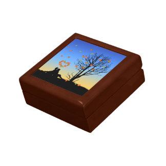 Heart-Shaped Autumn Leaves - Tile Gift Box