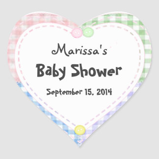 Heart Shaped Baby Quilt Shower Labels / Stickers
