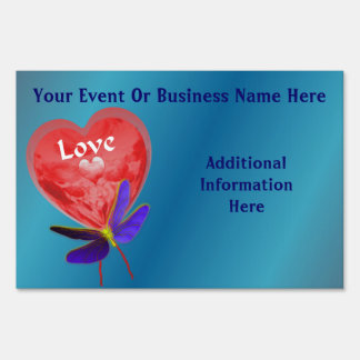 Heart Shaped Balloon Business Or Event Yard Sign