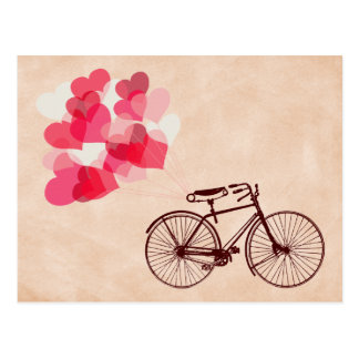 Heart-Shaped Balloons and Bicycle Postcard