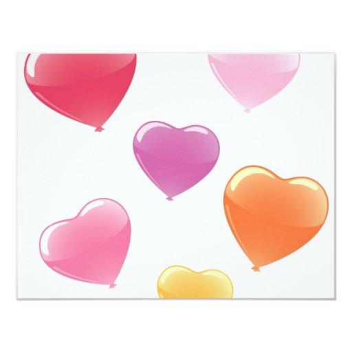 Heart Shaped Balloons 4.25x5.5 Paper Invitation Card