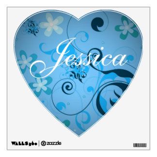 Heart Shaped Blue Floral Kids Custom Name Wall Decal
