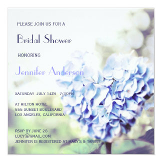 Heart-Shaped Blue Hydrangea Bridal Shower Card
