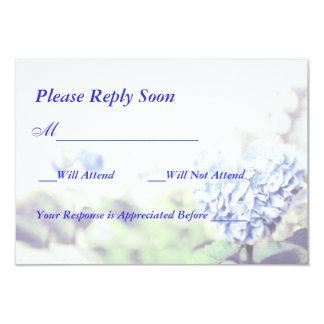 Heart-Shaped Blue Hydrangea RSVP Card