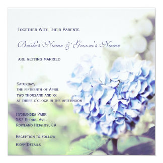 Heart-Shaped Blue Hydrangea Wedding Invitation