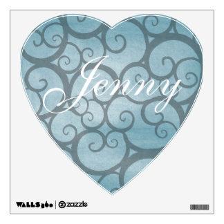 Heart Shaped Blue Vines Kids Custom Name Wall Sticker