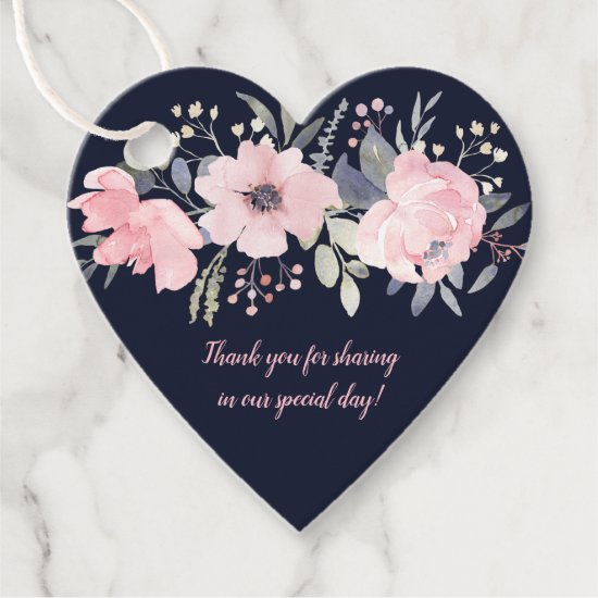 Heart-Shaped Blush Pink Floral on Navy Wedding | Favor Tags