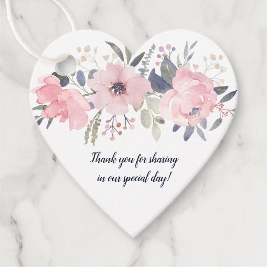 Heart-Shaped Blush Pink Floral on White Wedding | Favor Tags