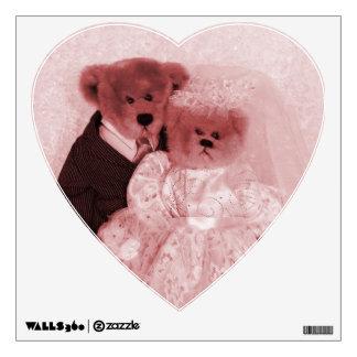HEART SHAPED BRIDE & GROOM BEAR WALL STICKER