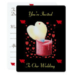 heart shaped buring flame red candle wedding card