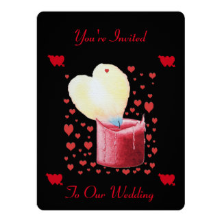 heart shaped buring flame romantic black wedding card
