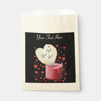 heart shaped buring flame romantic black wedding favor bag