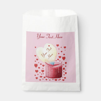 heart shaped buring flame romantic pink wedding favor bag