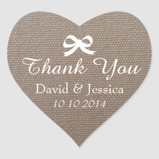 Heart shaped burlap bow wedding thank you stickers