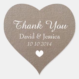 Heart shaped burlap wedding thank you stickers