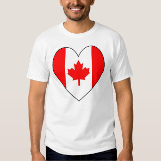 Heart-shaped Canadian Flag T Shirt