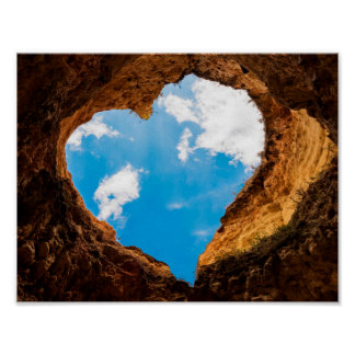 Heart-shaped cave opening to sky poster