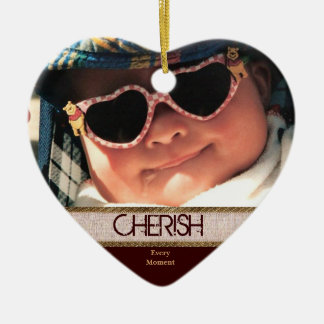 Heart Shaped CHERISH Every Moment Christmas Orname Ornament