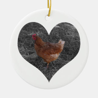 Heart Shaped Chicken Christmas Ornament