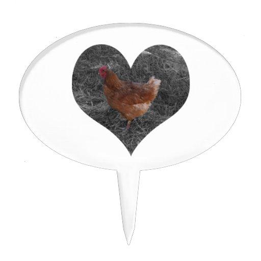 Heart Shaped Chicken Oval Cake Picks