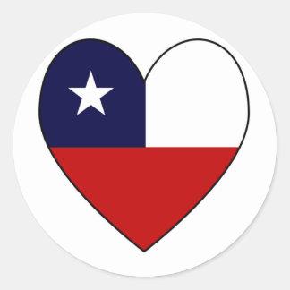 Heart-shaped Chile Flag Valentine Round Sticker Round Stickers