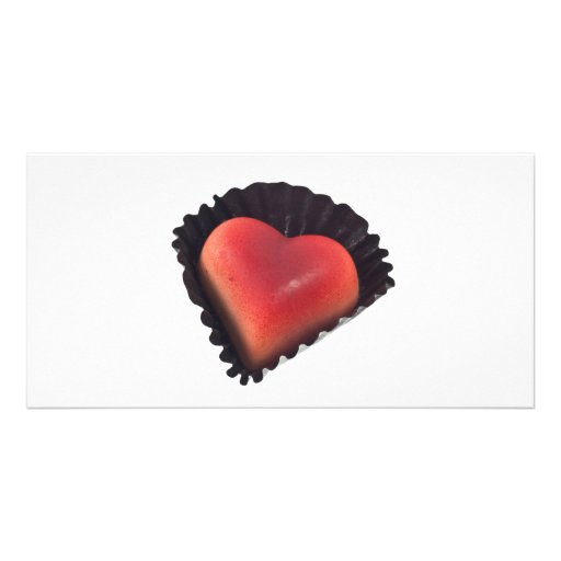 Heart shaped chocolate photo card template