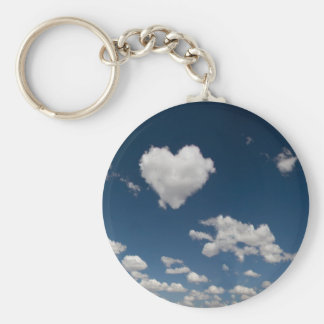 Heart shaped cloud basic round button keychain