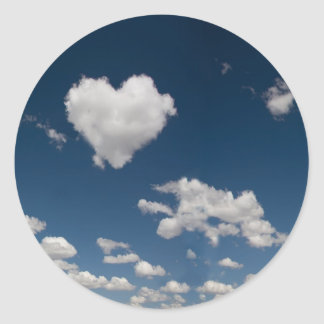 Heart shaped cloud classic round sticker