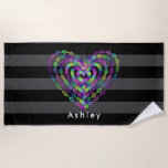 Heart shaped colorful pattern beach towel