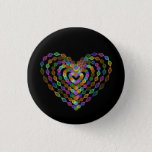 Heart shaped colorful pattern button