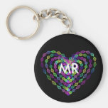 Heart shaped colorful pattern keychain