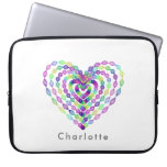 Heart shaped colorful pattern laptop sleeve