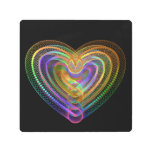 Heart shaped colorful pattern metal print