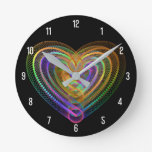 Heart shaped colorful pattern round clock
