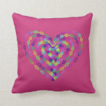 Heart shaped colorful pattern throw pillow