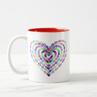 Heart shaped colorful pattern Two-Tone coffee mug