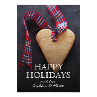 Heart-shaped cookie with ribbon 5x7 paper invitation card
