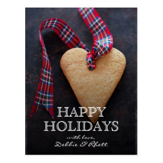 Heart-shaped cookie with ribbon postcard