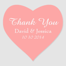 Heart shaped coral pink wedding thank you stickers