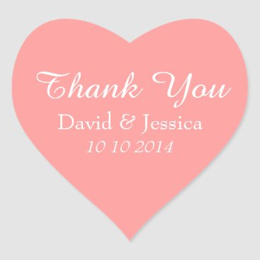 Valentines Themed Heart shaped coral pink wedding thank you stickers